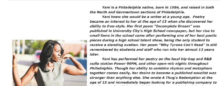 Urban Fiction Novelist Yani in the Aphillyation